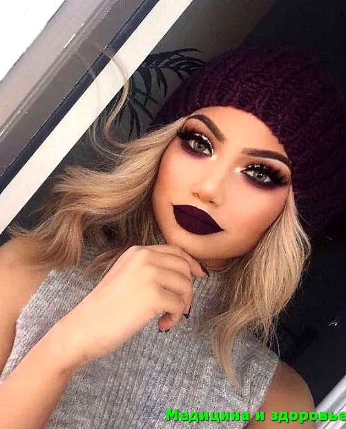 Осенний макияж и бордовые губы