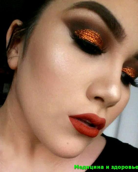 Красная помада и осенний макияж
