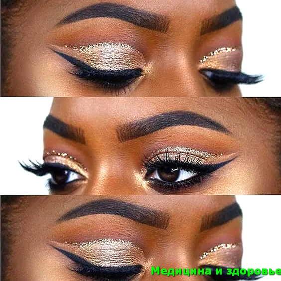 Черный и золотой осенний макияж