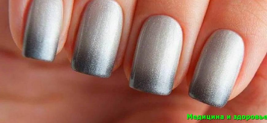 Все оттенки серого омбре ногтей